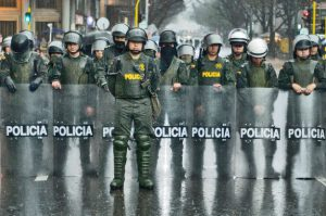 Police at a protest rally in Bogota