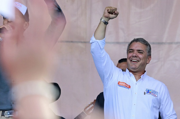 Colombian presidential candidate Iván Duque campaigns in May.
